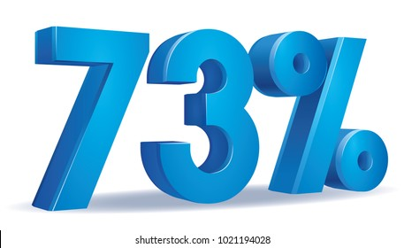 illustration Vector of 73 percent blue color in white background