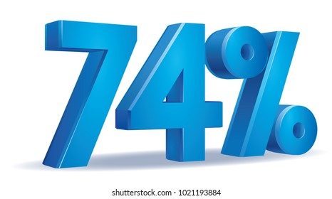 illustration Vector of 74 percent blue color in white background