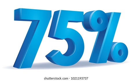 illustration Vector of 75 percent blue color in white background
