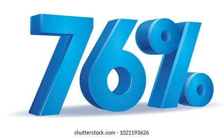 illustration Vector of 76 percent blue color in white background