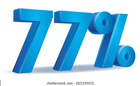 illustration Vector of 77 percent blue color in white background