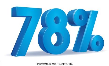 illustration Vector of 78 percent blue color in white background