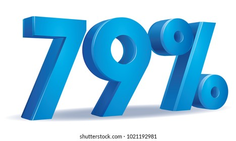 illustration Vector of 79 percent blue color in white background