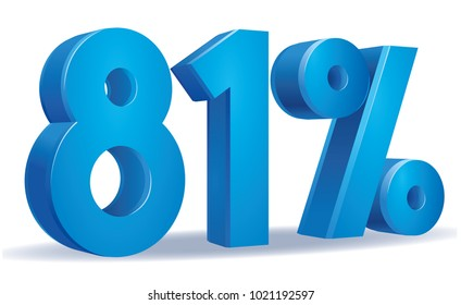 illustration Vector of 81 percent blue color in white background