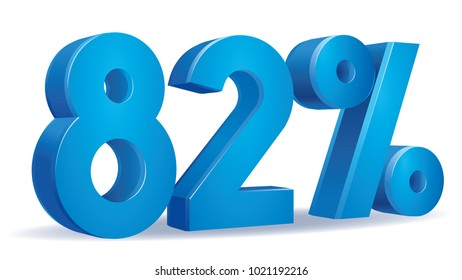 illustration Vector of 82 percent blue color in white background