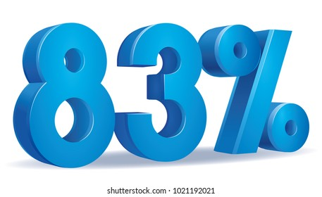 illustration Vector of 83 percent blue color in white background