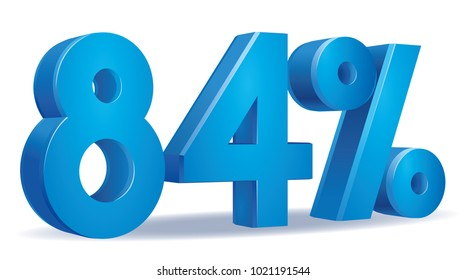 illustration Vector of 84 percent blue color in white background