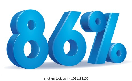 illustration Vector of 86 percent blue color in white background