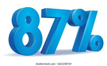 illustration Vector of 87 percent blue color in white background