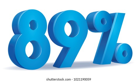 illustration Vector of 89 percent blue color in white background
