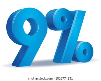 illustration Vector of 9 percent blue color in white background