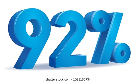 illustration Vector of 92 percent blue color in white background