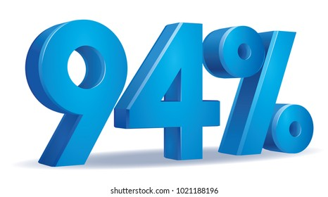 illustration Vector of 94 percent blue color in white background