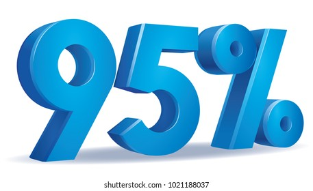 illustration Vector of 95 percent blue color in white background
