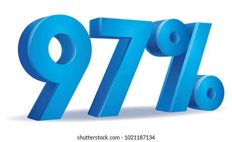 illustration Vector of 97 percent blue color in white background