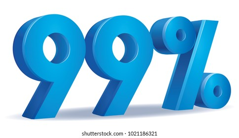 illustration Vector of 99 percent blue color in white background
