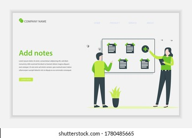 Illustration vector Add notes concept. people add some notepaper on the board. Suitable for landing page, web, flyer, website, and banner.
