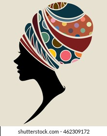 illustration vector of African women silhouette fashion models, beautiful black women.