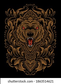 Illustration vector angry Bear head with vintage engraving ornament on black background.
