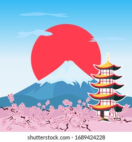 Illustration vector with an Asian temple and mountains. Japan, cherry blossom, Mount Fuji