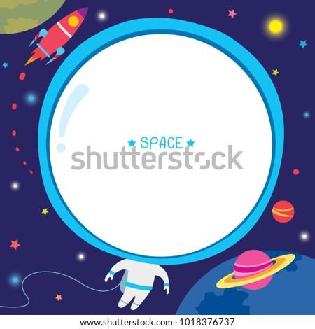 illustration vector astronaut template design rocket stock vector