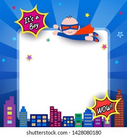 Illustration vector of Baby shower design with super hero boy on blue background.