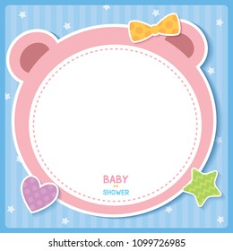 Illustration vector of baby shower frame background design with bear shape, star,heart and bow.