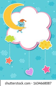 Illustration vector of baby shower template design with bear on the moon design with cloud frame and on blue sky background.