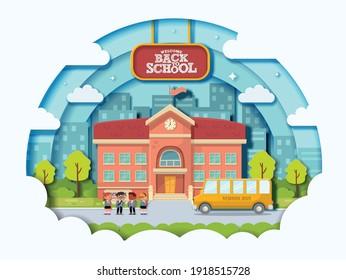 Illustration vector of back to school design on school background