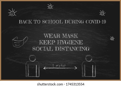 Illustration vector: Back to school during covid-19