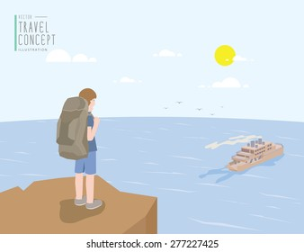 Illustration vector backpacker standing on a cliff looking out to the sea and ferry boat. On a clear day flat style.