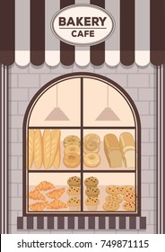 Illustration vector of Bakery cafe front shop design with awning and brick wall decorated with bread products on window shelf