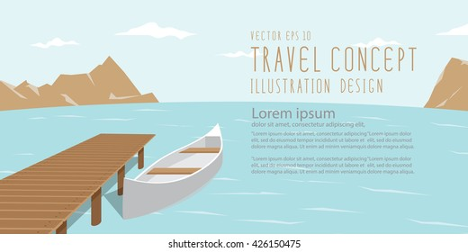 illustration vector banner landscape of lake, mountains and canoe amidst the natural beauty of the resting day. Travel Landscape and Recreation Concept.