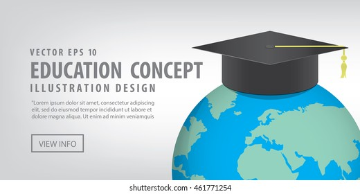 Illustration vector Banner World with a Graduation hat on top. Means education is recognized by people all over the world.
