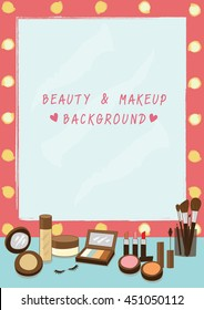 Illustration vector for beauty with  dressing table and  lighting mirror and  all cosmetics for makeup.