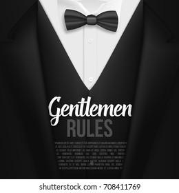 Illustration of Vector Black Suit. Gentlemen Rules List Template. Realistic Vector Mens Suit