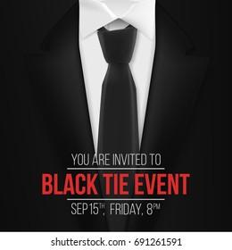 Illustration of Vector Black Suit. Black Tie Event Invitation Template. Realistic Vector 3D Mens Suit with Neck Tie