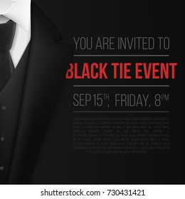 Illustration of Vector Black Suit. Black Tie Event Invitation Template. Realistic Vector 3D Mens Suit with Neck Tie