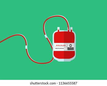 Illustration vector of blood bag with green background