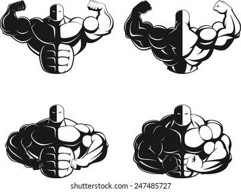 Illustration vector, bodybuilder showing muscles