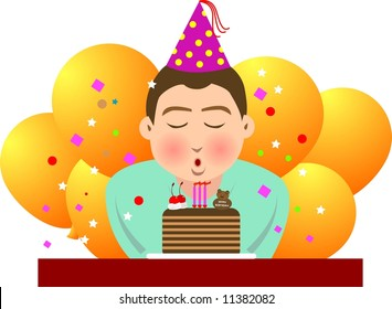 illustration, vector for a boy blowing candles in his birthday.