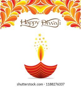 illustration vector burning diya for indian festival diwali background