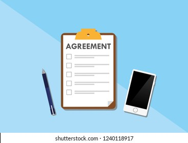 Illustration vector of business concept. An agreement clipboard with checklists, a pen and mobile phone over blue background with copy space for web.