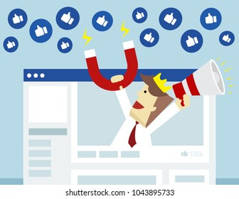 Illustration vector of businessman who is using megaphone and magnet for call to action from audience as business influence marketing concept