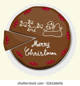 Illustration vector of cake with slice cake on top view Merry Christmas theme.