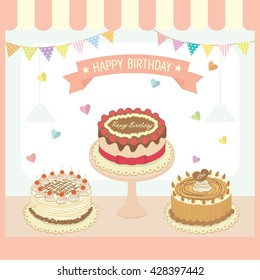 Illustration vector of cakes menu design for birthday card and party decorated with heart and buntings.Pastel colors pink background.