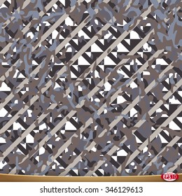 Illustration of vector camouflage, seamless pattern on netting grid background.