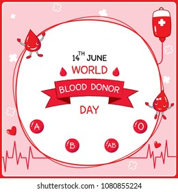 Illustration vector of cartoon drop character with blood types and symbol design for World Blood donor day poster.