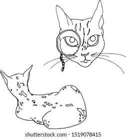 Illustration vector cat in pince-nez, cat backs in a tiger glomerulus coloring book, drawn in-line. Print for textiles, cards, packaging, stickers, tattoos