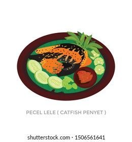 illustration vector catfish with hot chili sauce on indonesia street food